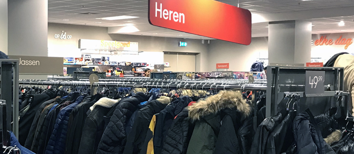 Dutch words used in signs in department store in Netherlands