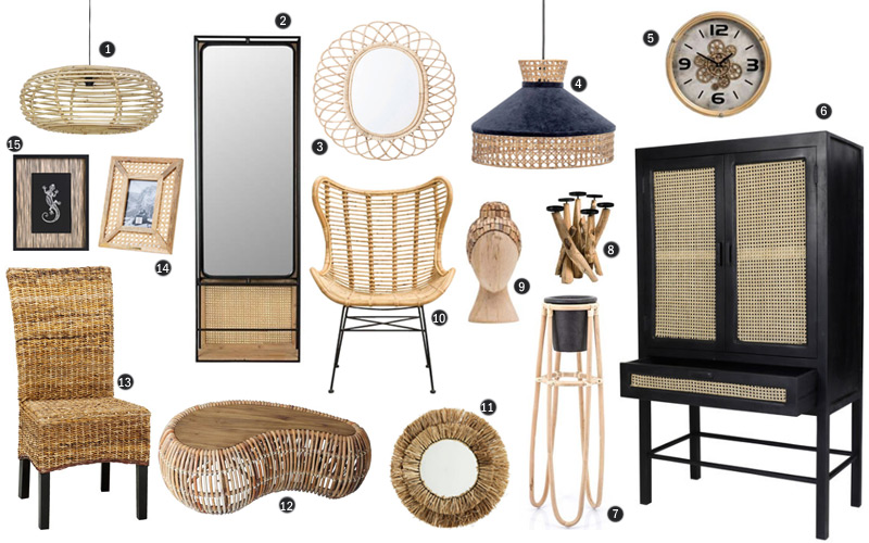 rattan, cane and natural wood furnishings trend items available from Dutch retailers