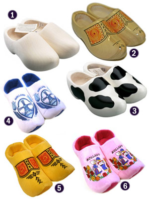 Dutch wooden shoes and clog slippers