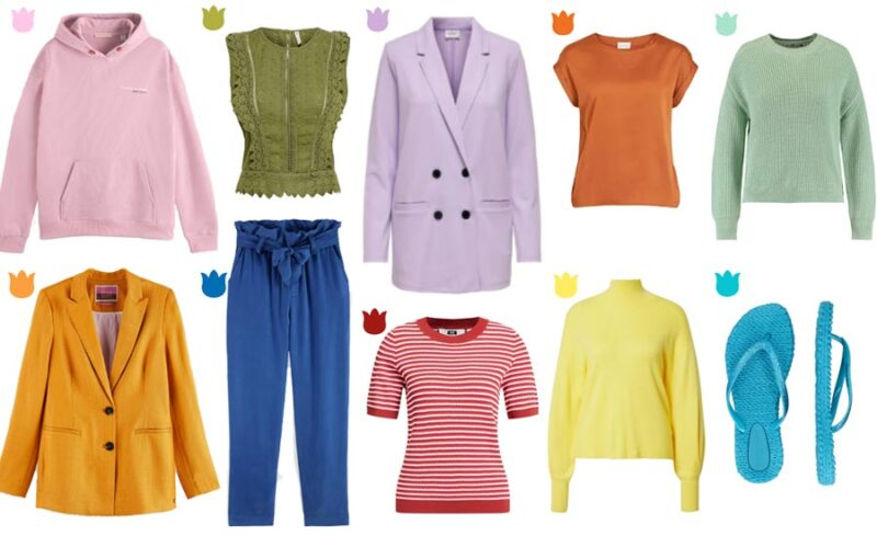 examples of merchandise in Spring 2021 fashion trend colors available in Netherlands