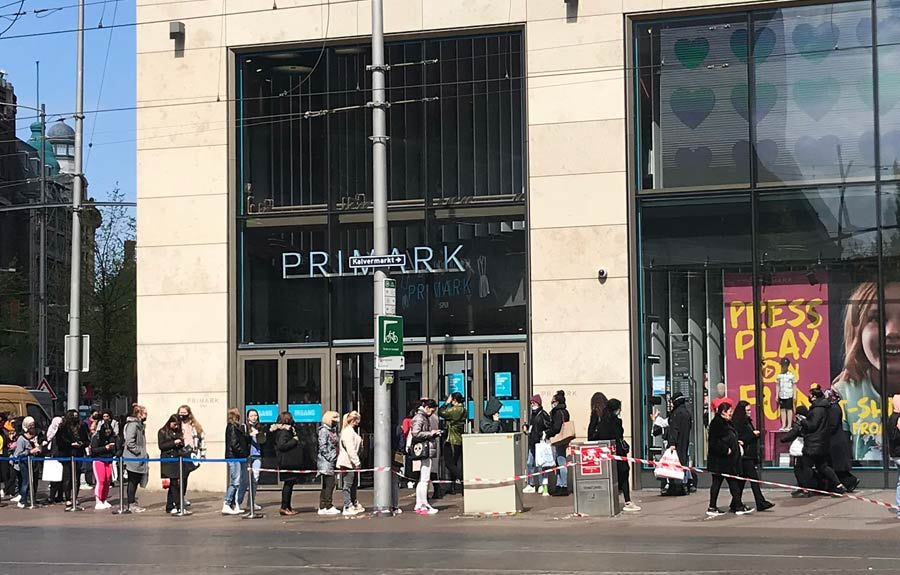 shoppers line up outside Primark store in The Hague Netherlands 29 April 2021