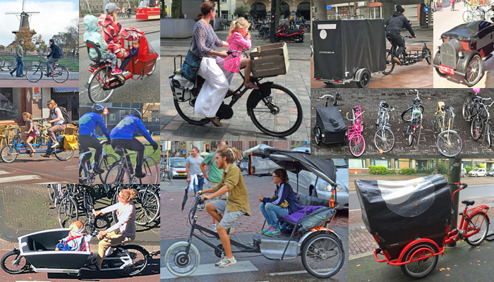 collage of different bike styles found in Holland Netherlands