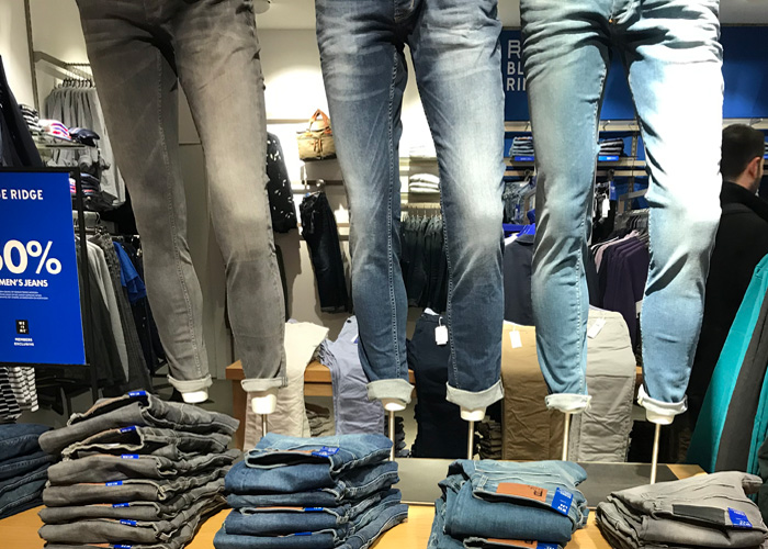 denim jeans display at Dutch chain store in the Netherlands
