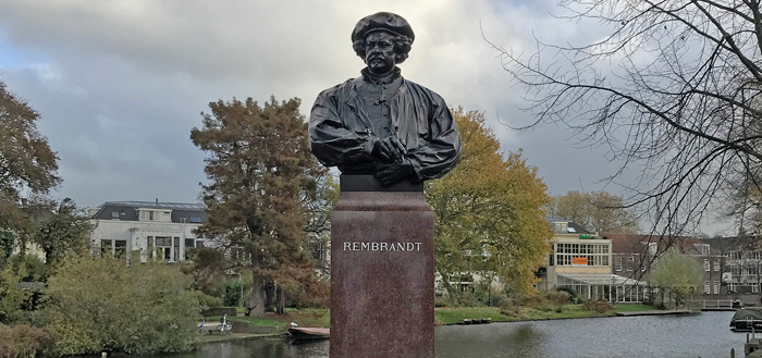 Rembrandt monument in Leiden Netherlands
