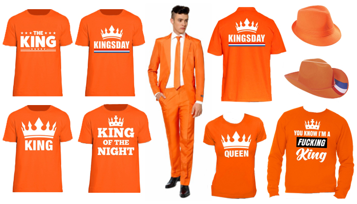 orange shirts tops and hats to celebrate King's Day in Holland